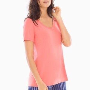 Soma S Coral Cool Nights PJ Pajama Tee Top NWD